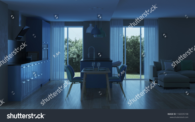 Modern house interior blue kitchen night evening lighting 3d rendering