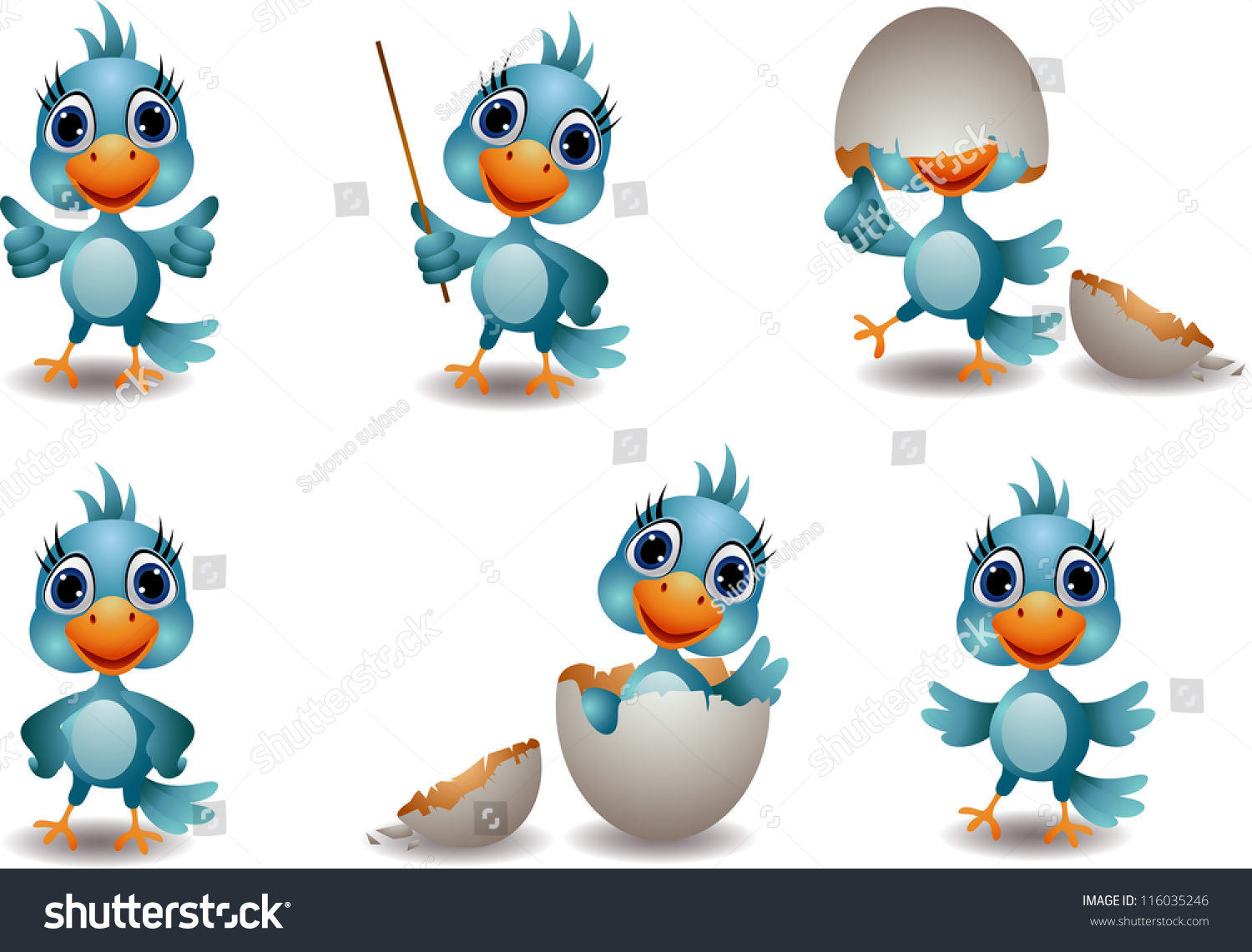 Cute baby cartoon birds - photo#9