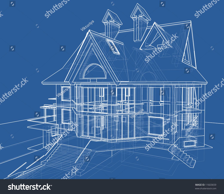 House blueprint 3d technical draw stock illustration for 3d house blueprints