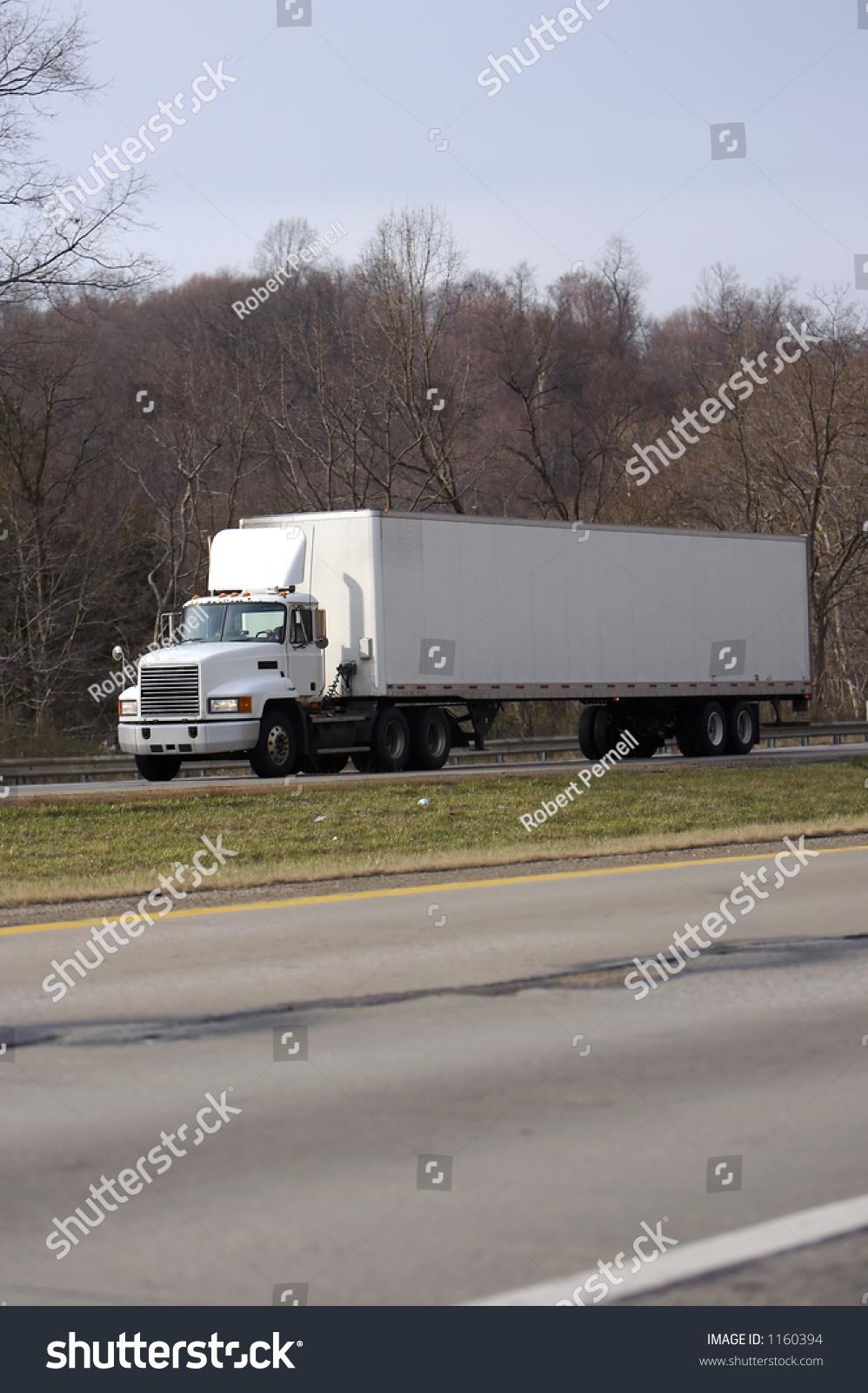 Tractor Trailer Stock : White semi tractor trailer truck on stock photo