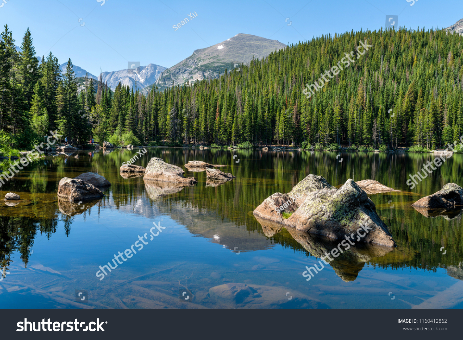 Bear Lake - A sunny summer morning view of a rocky section of Bear Lake, Rocky Mountain National Park, Colorado, USA. #1160412862