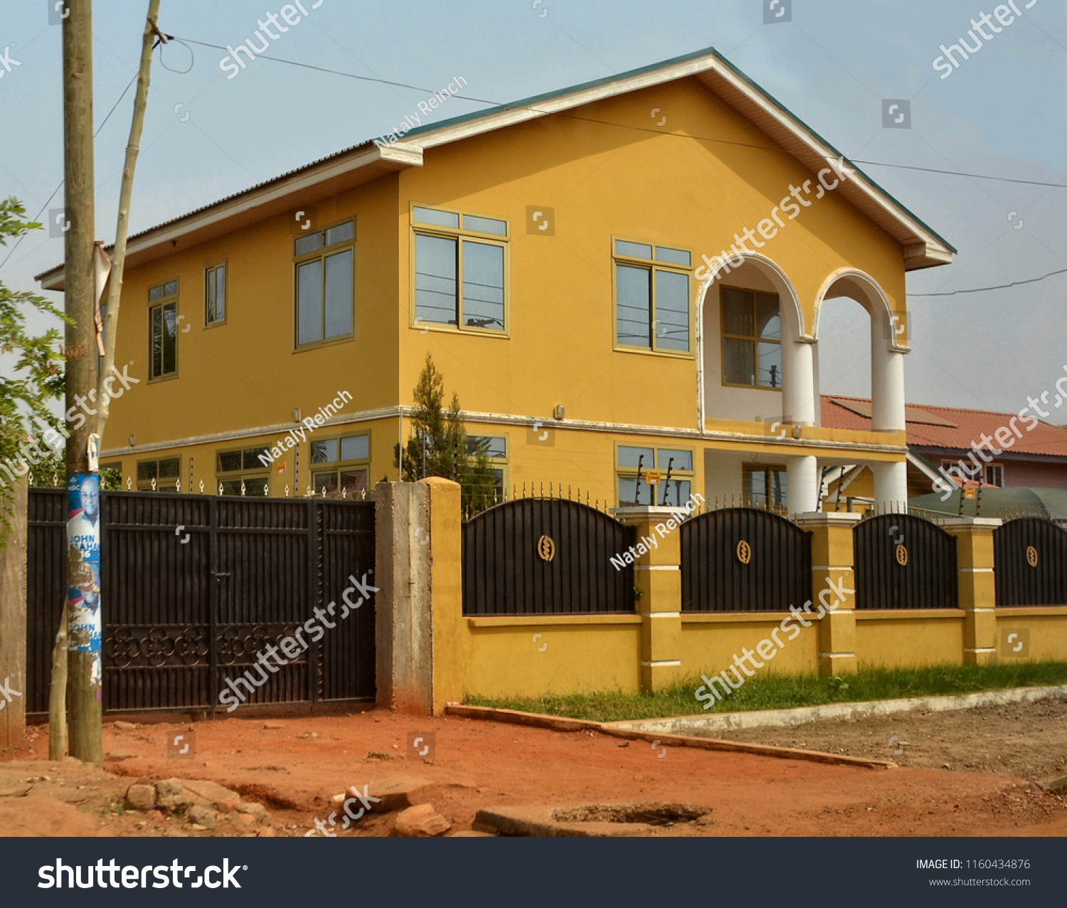 Modern residential house africa fence gate stock photo edit