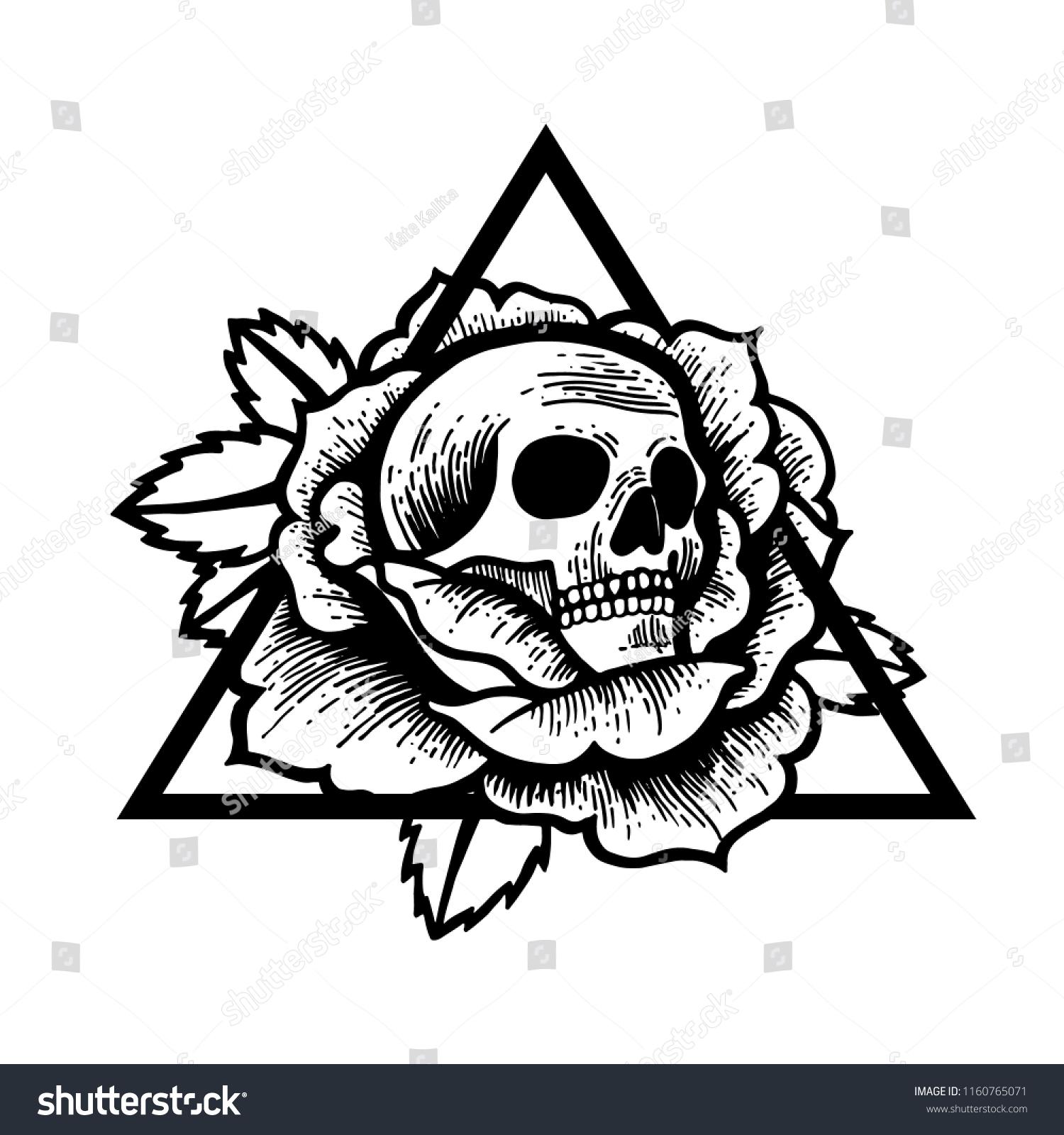 Rose Skull Tattoo Sacred Geometry Frame Stockvector Rechtenvrij