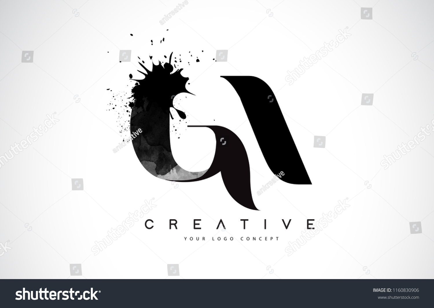 Ga G Letter Logo Design Black Stock Vector Royalty Free 1160830906