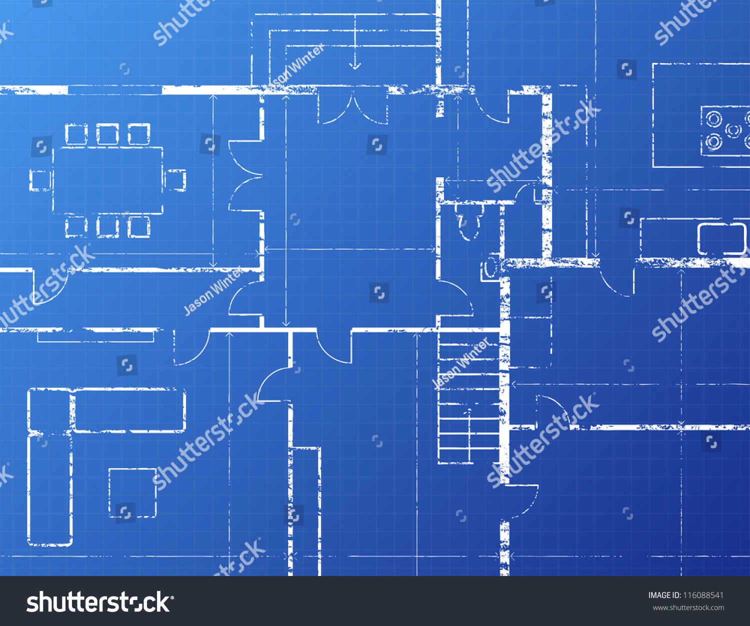 Grungy architectural blueprint illustration on blue stock vector grungy architectural blueprint illustration on blue background malvernweather Images