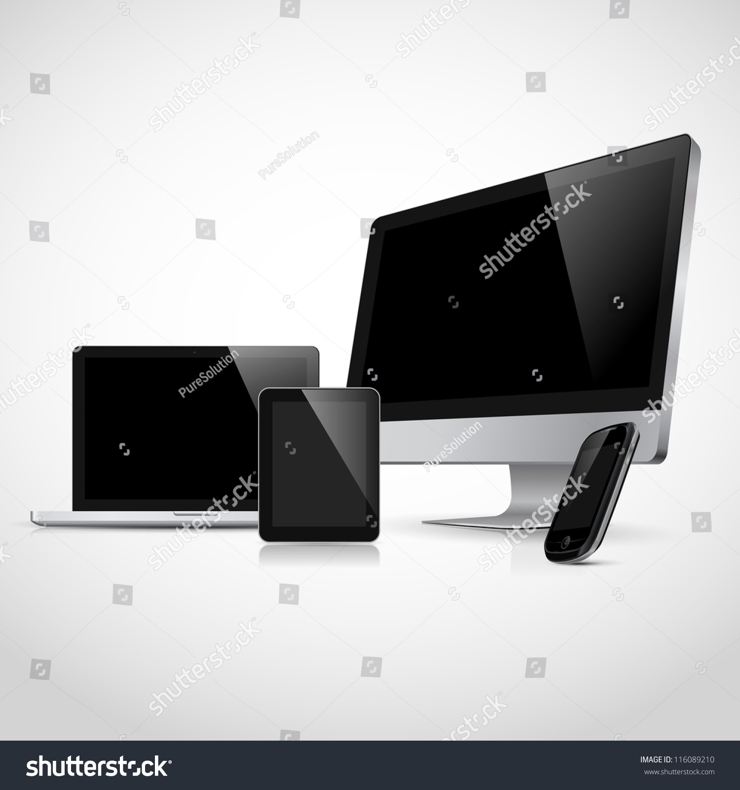 realistic vector laptop tablet computer monitor stock vector