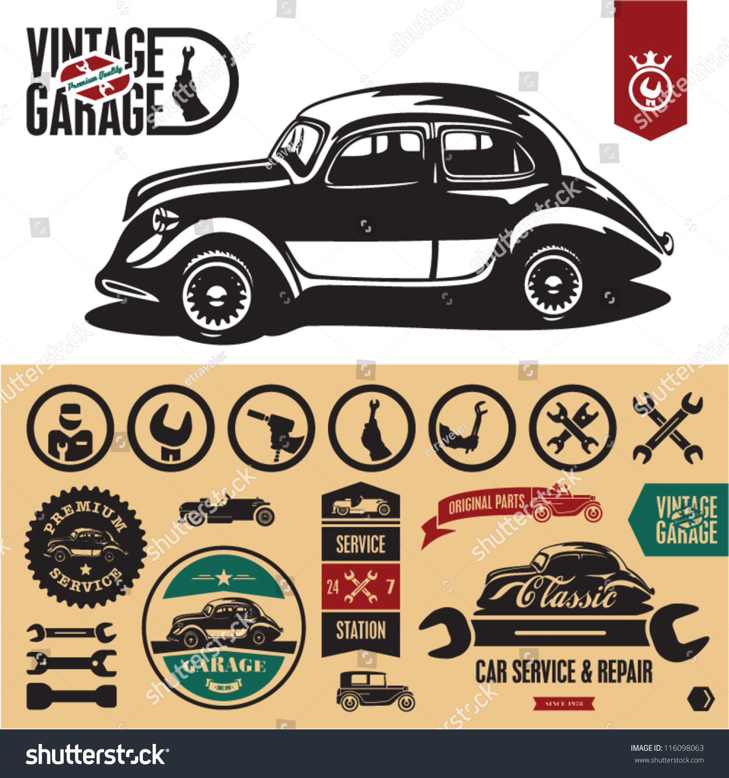 Vintage Car Garage Labels Badges Collection Stock Vector HD (Royalty ...