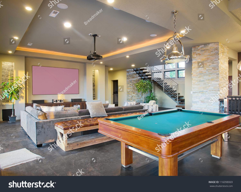 Entertainment Center Rec Room Luxury Home Stock Photo