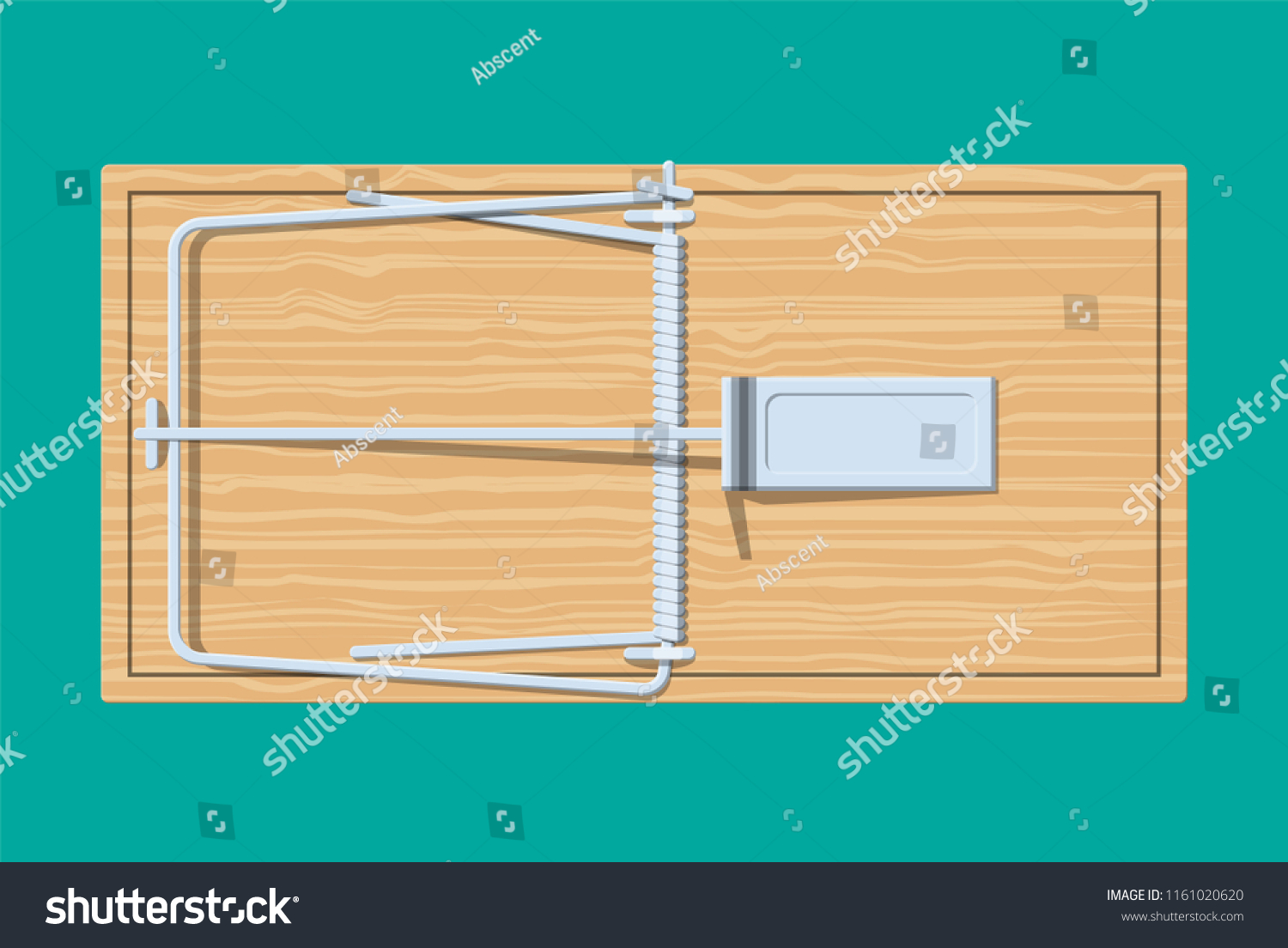 Wooden mouse trap, classical spring loaded bar trap. Top view. Vector illustration in flat style