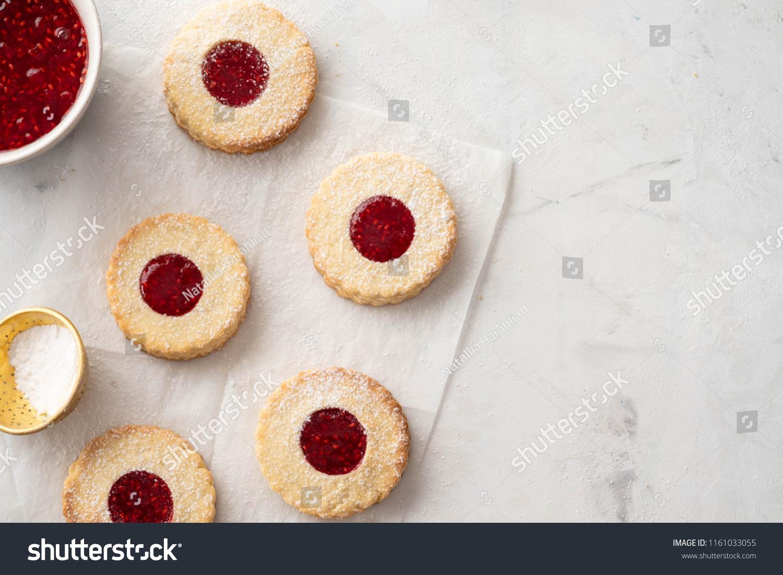 Christmas Cookies Linzer Cookies Raspberry Jam Stock Photo Edit Now