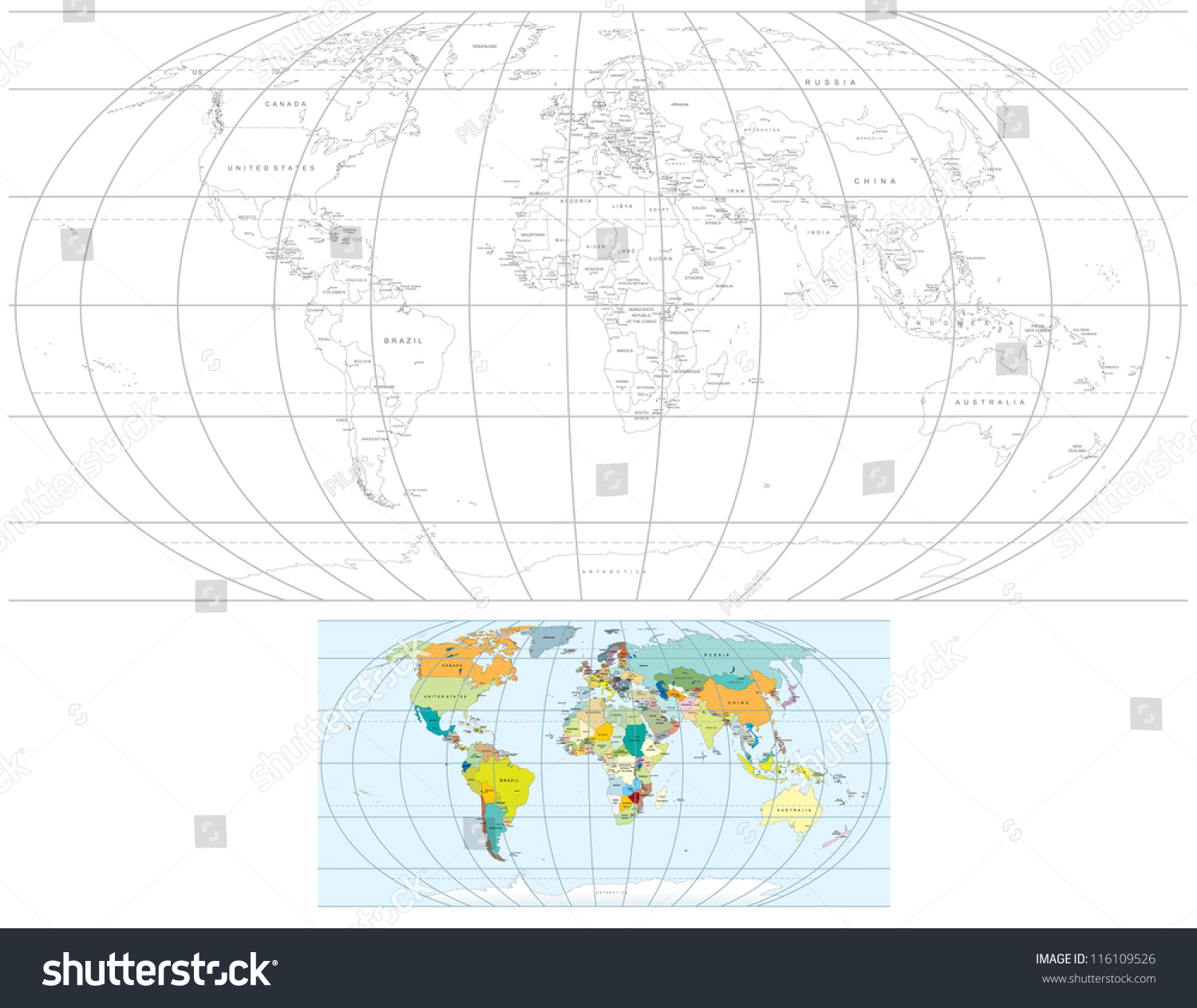 Contour Transparent World Map Detailed Vector Stock Vector - Capital of all countries in the world