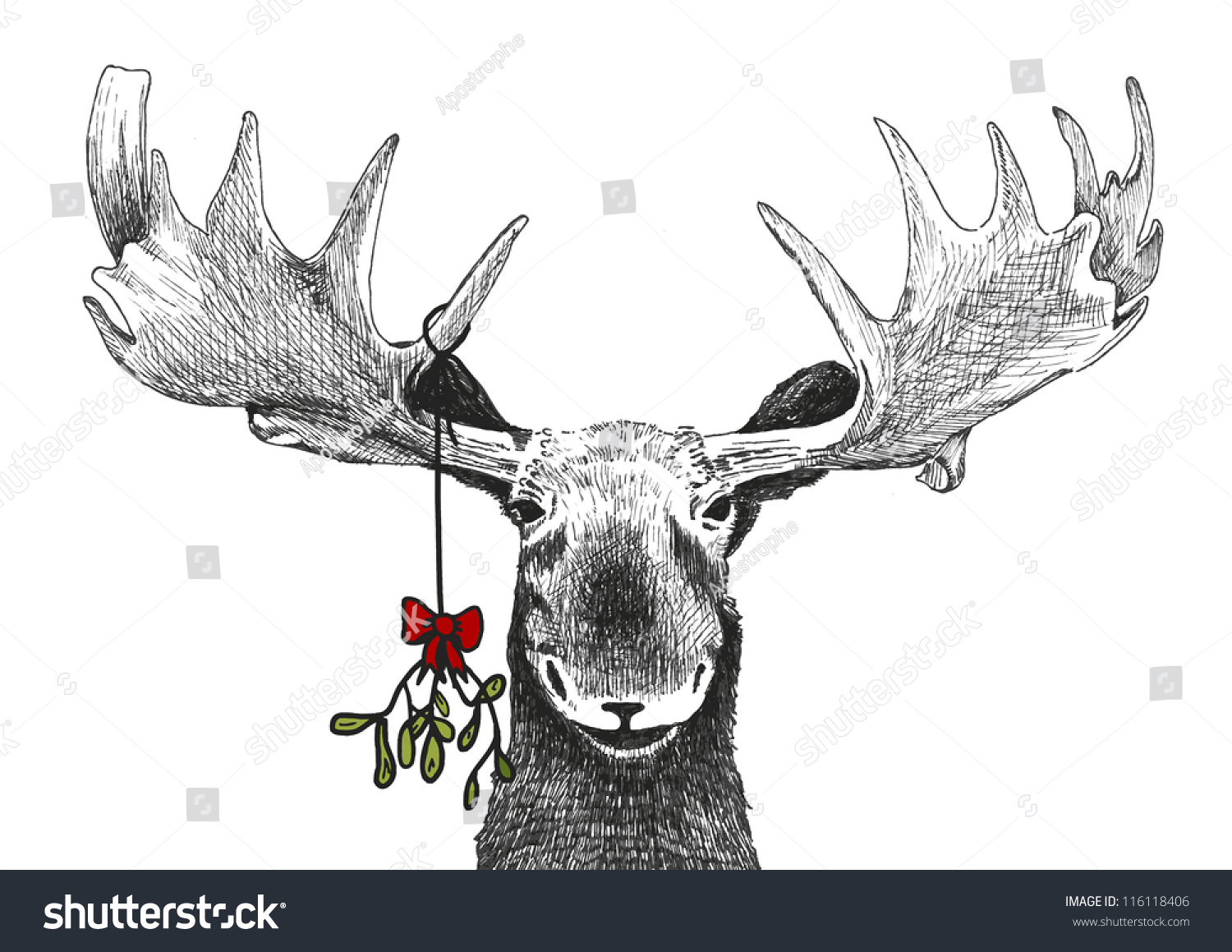 Fun Christmas Tradition Of Kiss Under Stock Photo 116118406
