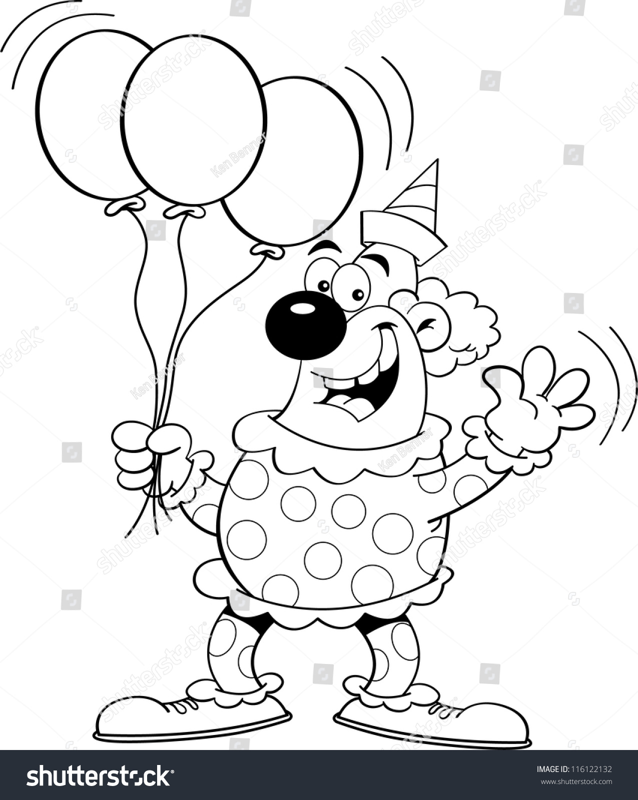 Black White Illustration Clown Holding Balloons Stock Illustration ...