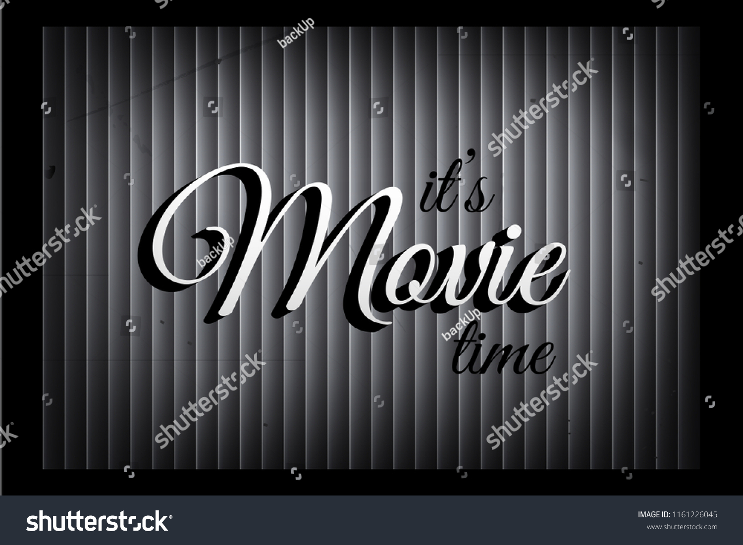 Its Movie Time Banner Template In Silent Film Style Vector Sign On Monochromatic Curtain