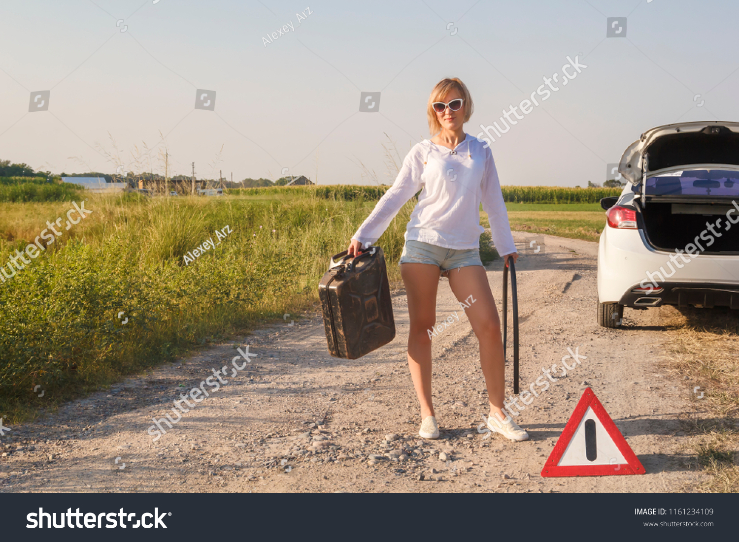 beautiful girl driver car ran out stock photo edit now 1161234109 shutterstock