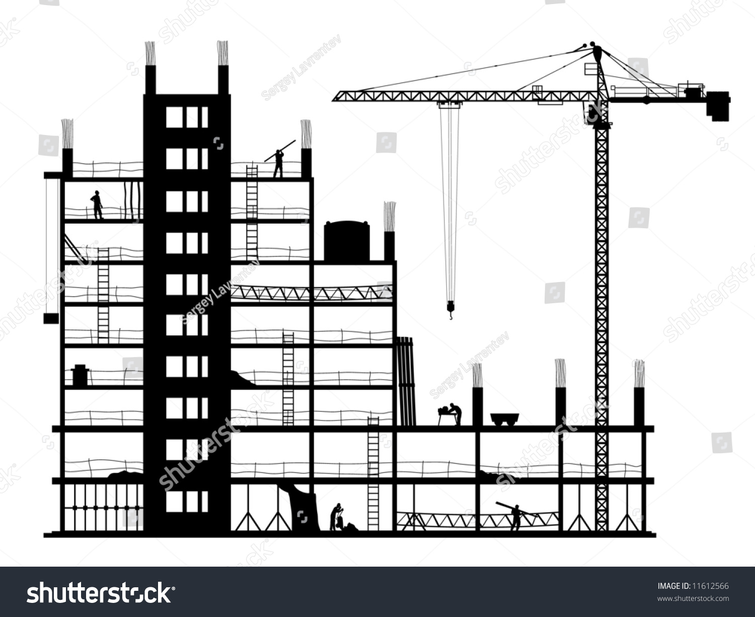 Construction Building Silhouette On White Background Stock ...