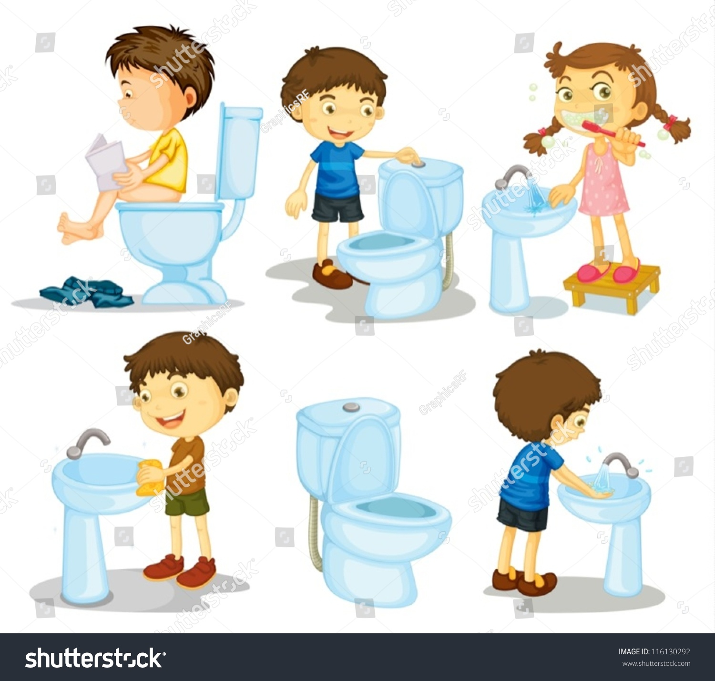 Childrens Bathroom Accessories Illustration Kids Bathroom Accessories On White Stock Vector