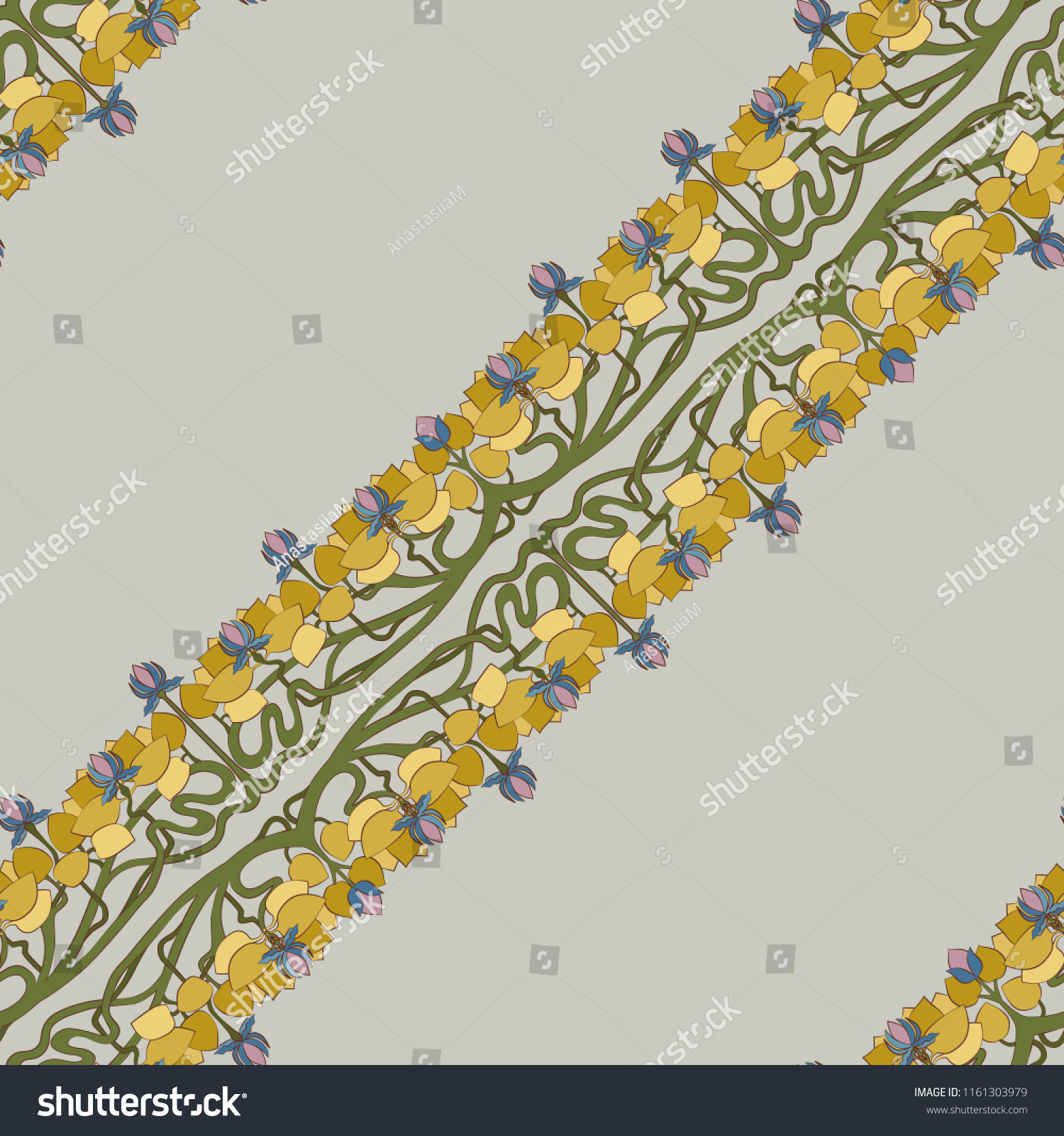 Art deco floral seamless pattern stylized stock vector royalty free art deco floral seamless pattern stylized lotus flowers with leaves and interlaced stems on grey izmirmasajfo