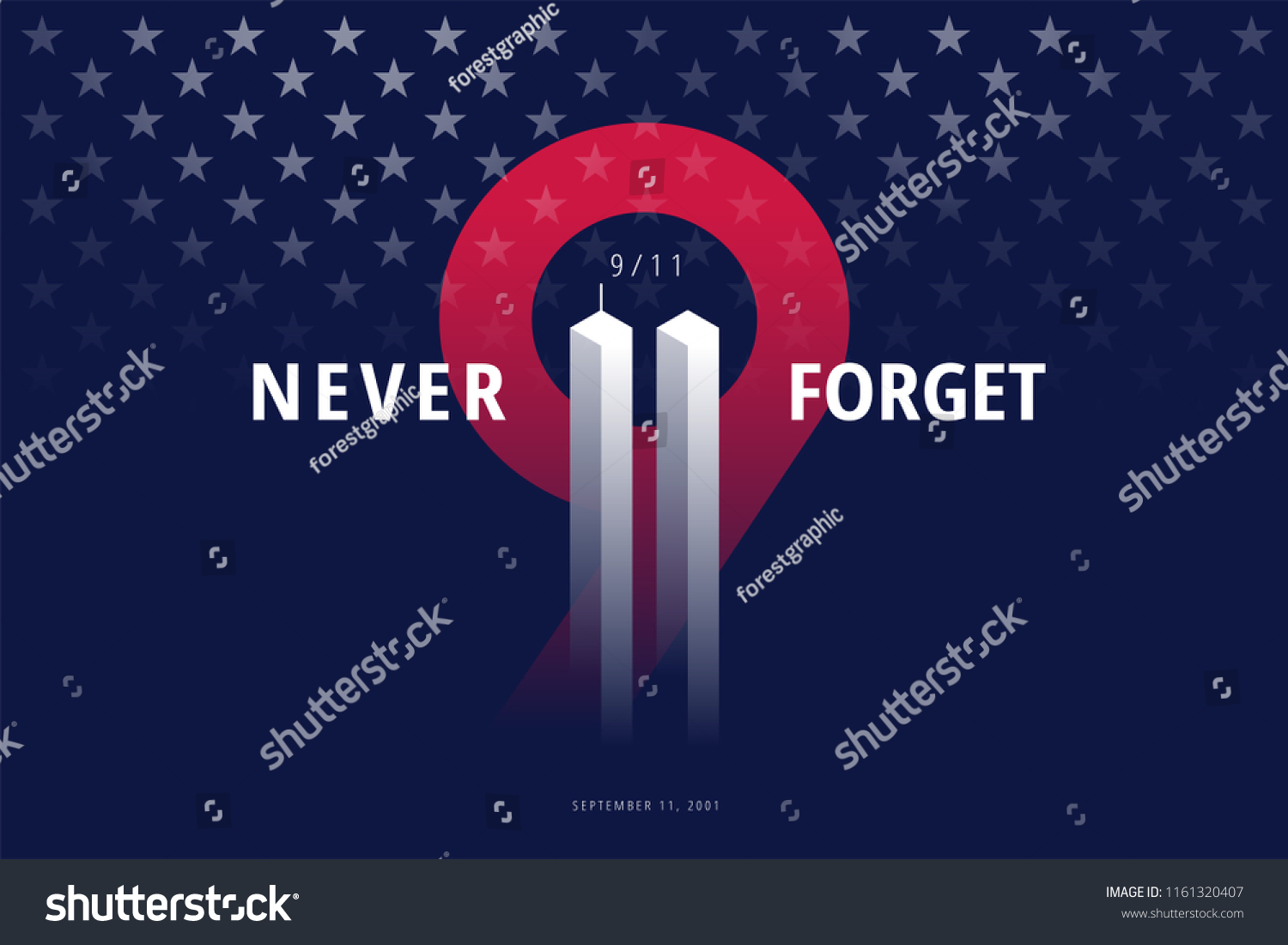 9/11 USA Never Forget September 11, 2001. Vector conceptual illustration for Patriot Day USA poster or banner. Black background, red, blue colors #1161320407