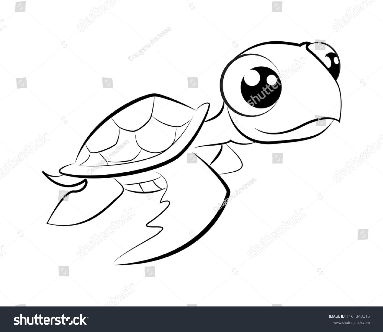 Vector Illustration Cute Cartoon Baby Turtle Stock Vector Royalty Free 1161343015