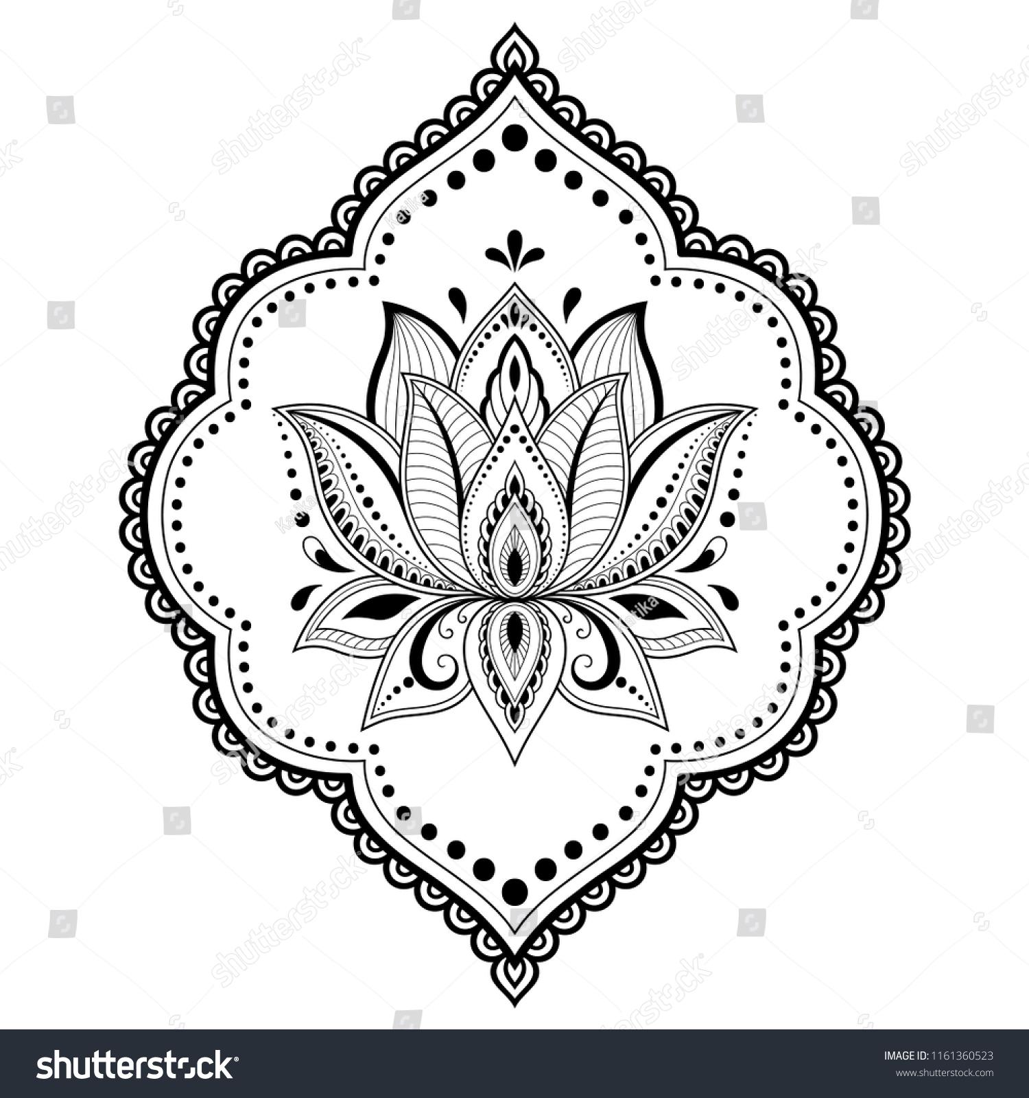Mehndi Lotus Flower Pattern Henna Drawing Stock Vector Royalty Free