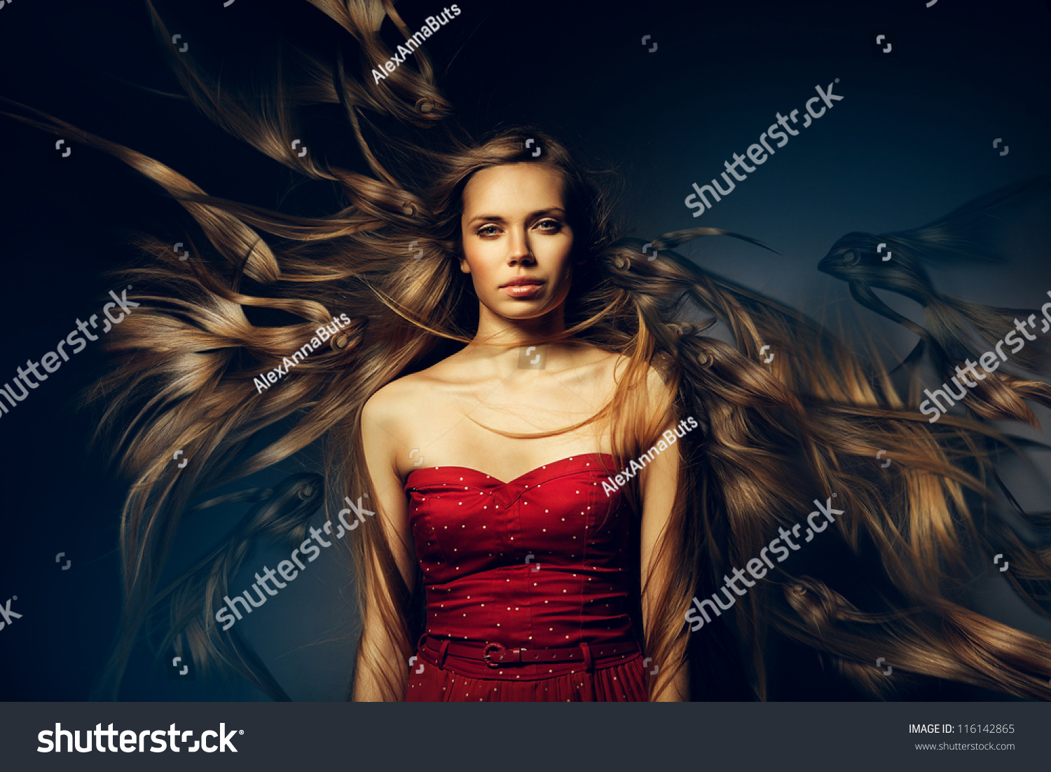 woman with beautiful long hair in water stock photo 116142865 shutterstock. Black Bedroom Furniture Sets. Home Design Ideas