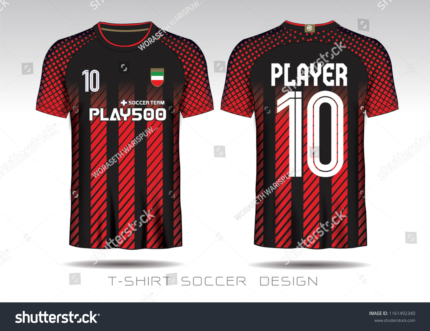 5108d8585 Red Black Layout Football Sport Tshirt Stock Vector (Royalty Free ...