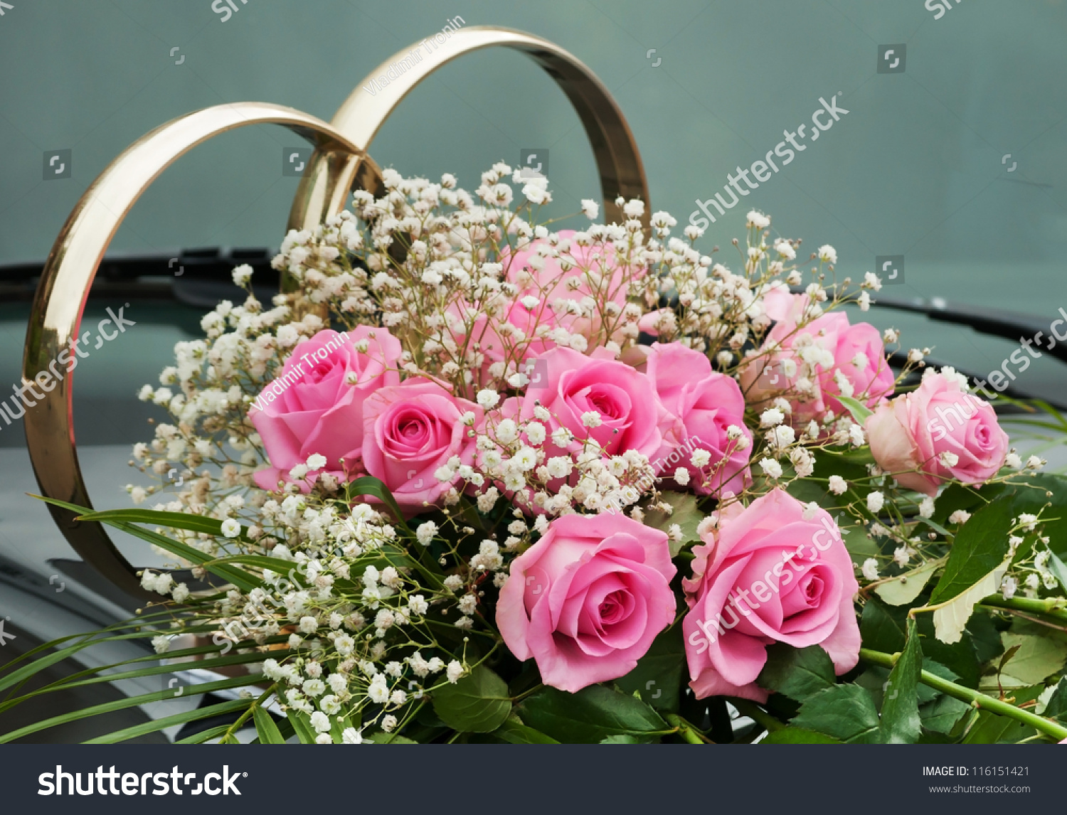 Wedding Car Decoration Flowers Rings Stock Photo (Edit Now ...