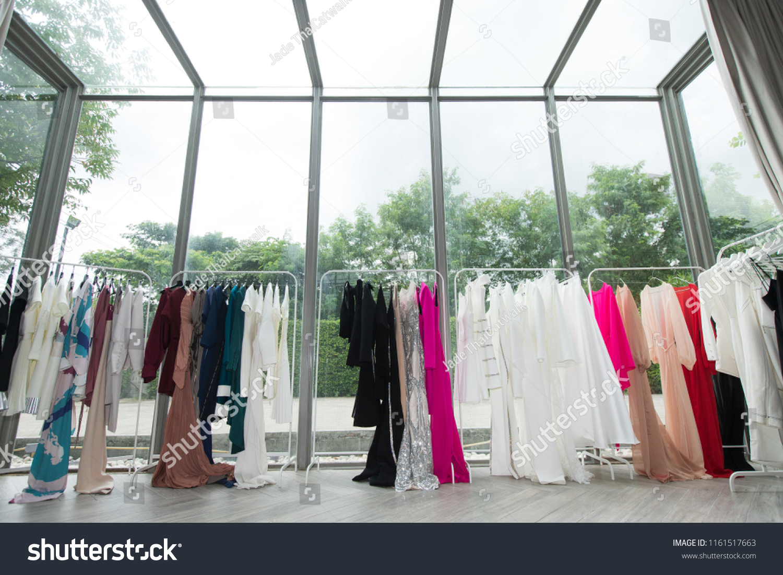 Fashion Design Clothes On Display Rack Stock Photo (Edit Now