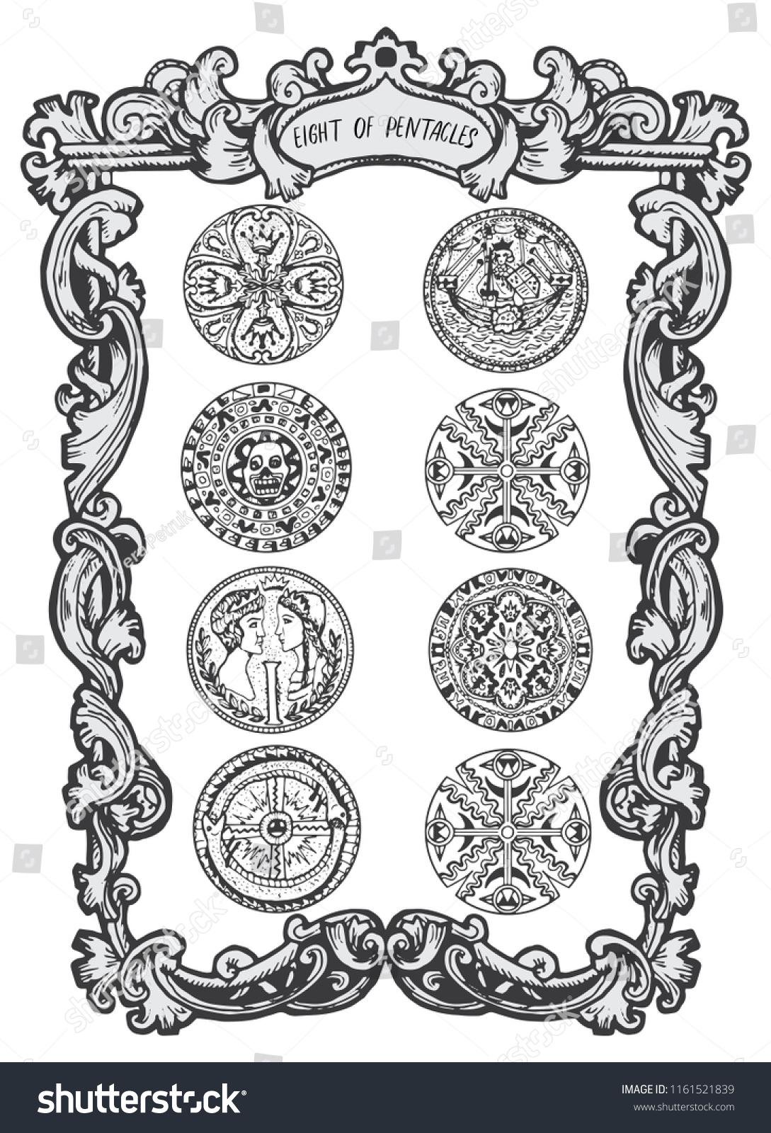 Eight Pentacles Minor Arcana Tarot Card Stock Vector (Royalty Free