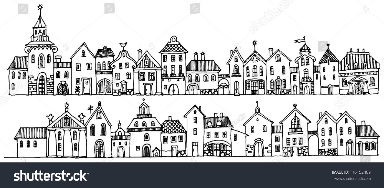 Cartoon Hand Drawing Houses Stock Vector Illustration 116152489