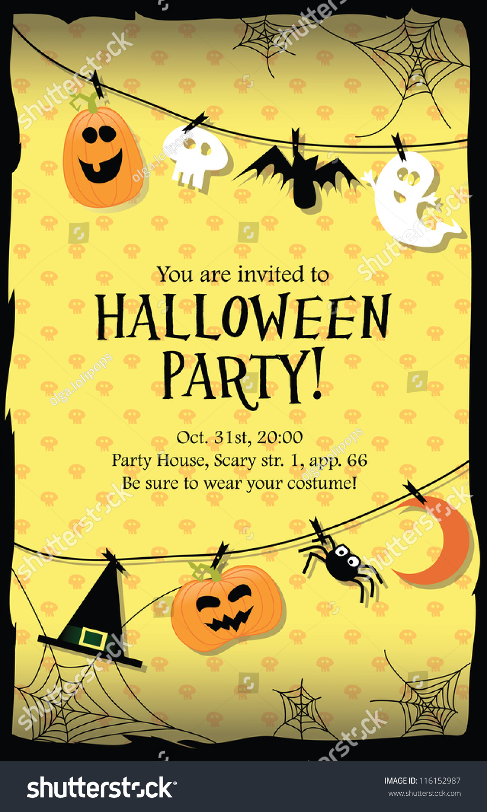 Halloween Party Invitation Card Vector 116152987 Shutterstock – Scary or Horror Invitation Cards