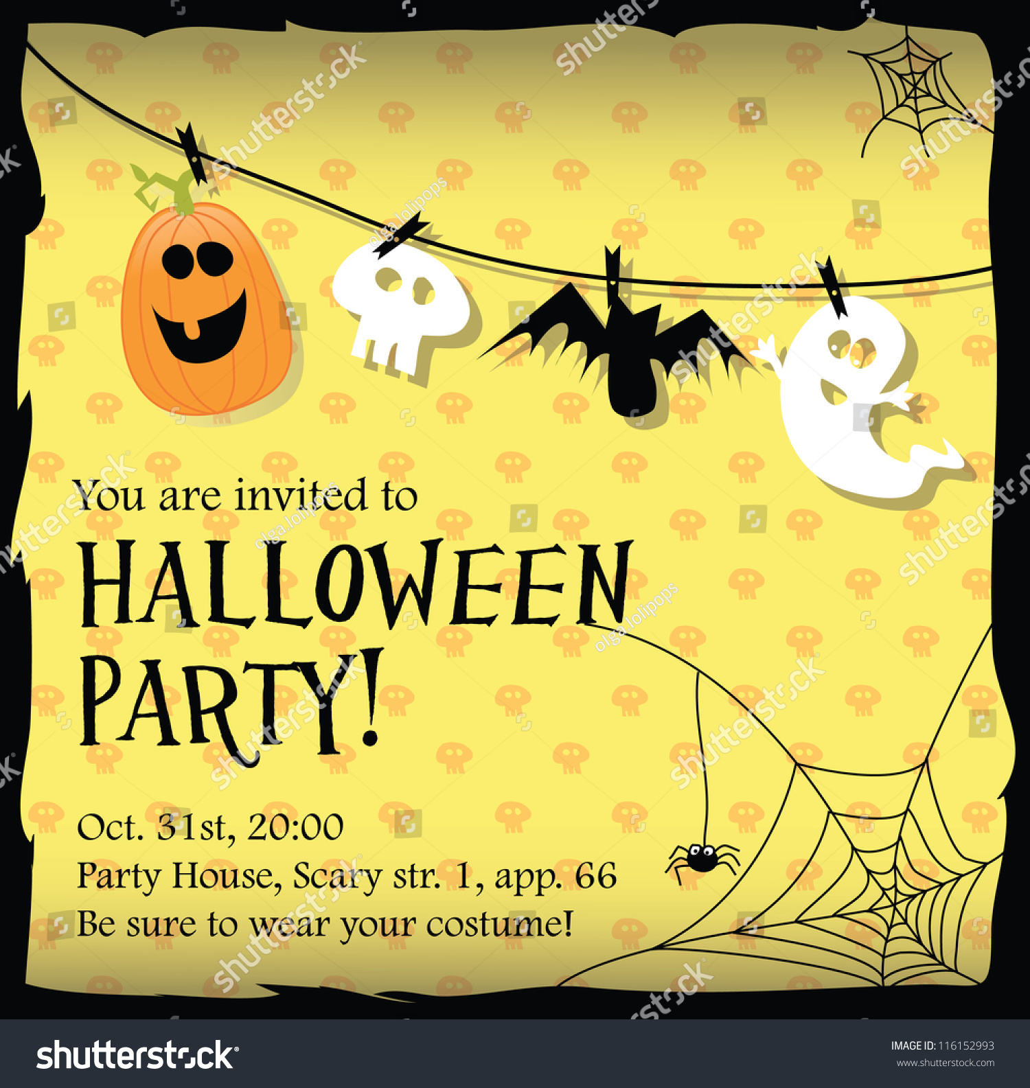 Halloween Party Invitation Card Vector 116152993 Shutterstock – Card Party Invitation