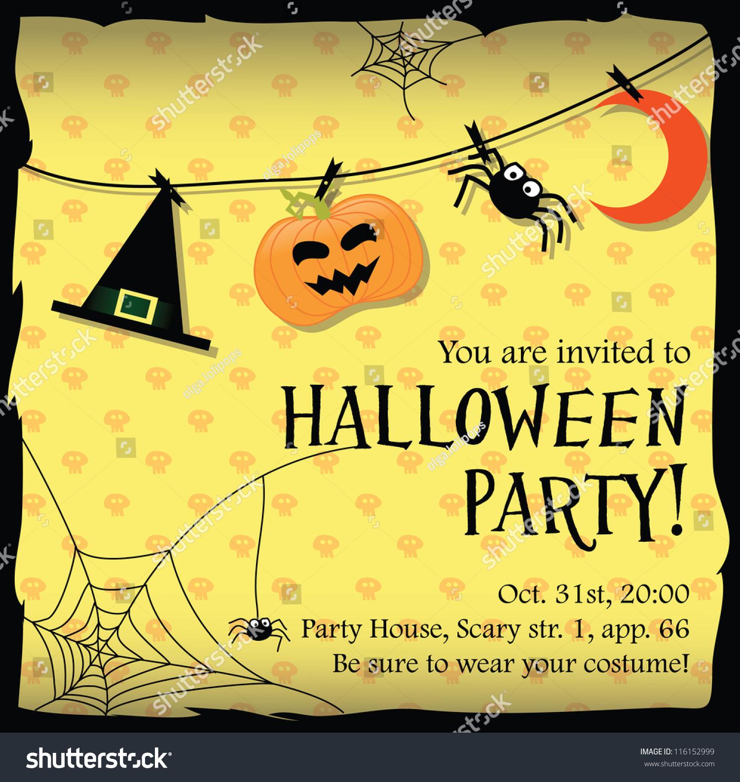 Halloween Party Invitation Card Stock Vector (2018) 116152999 ...