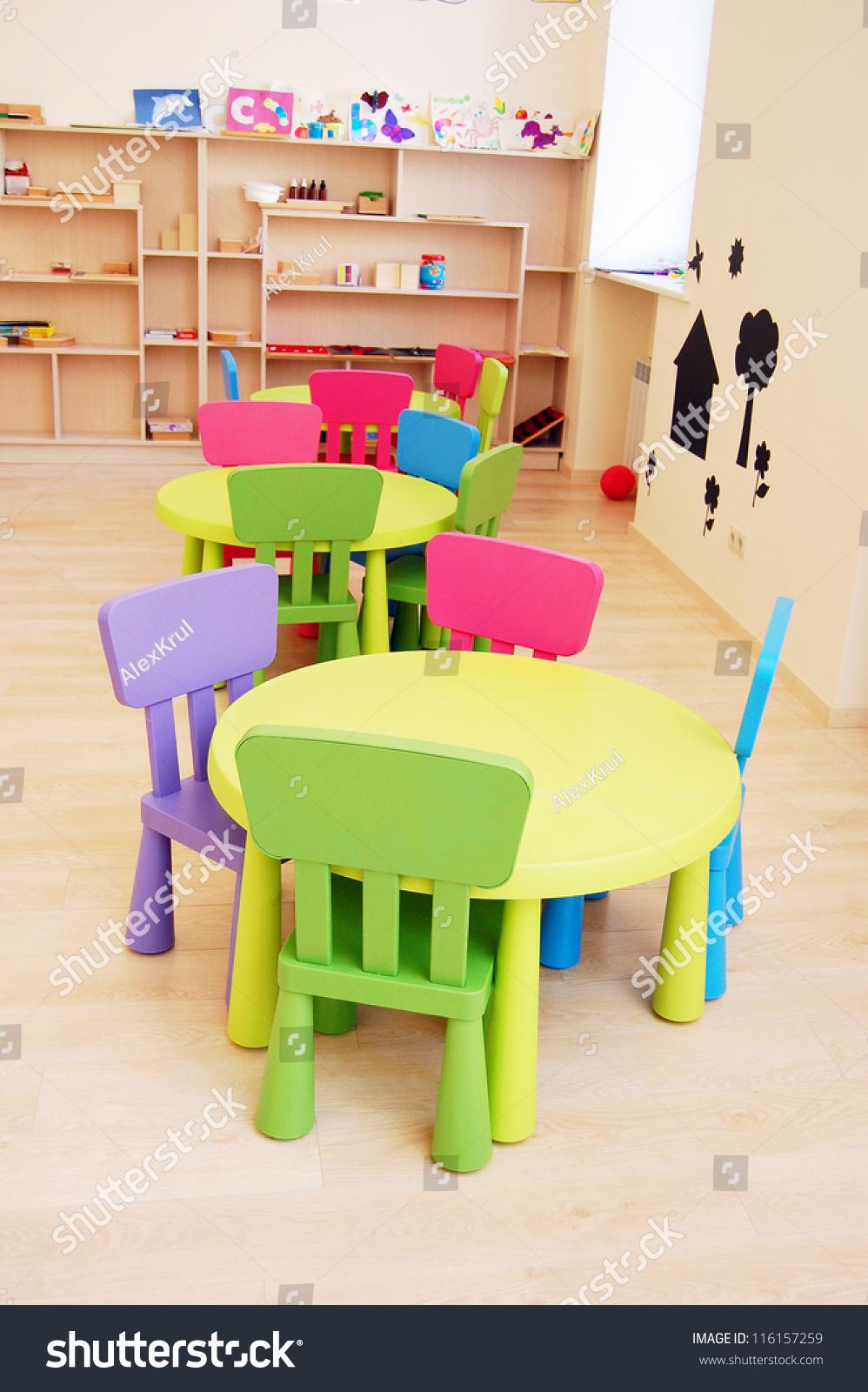 Montessori Kindergarten Preschool Classroom Table Chairs