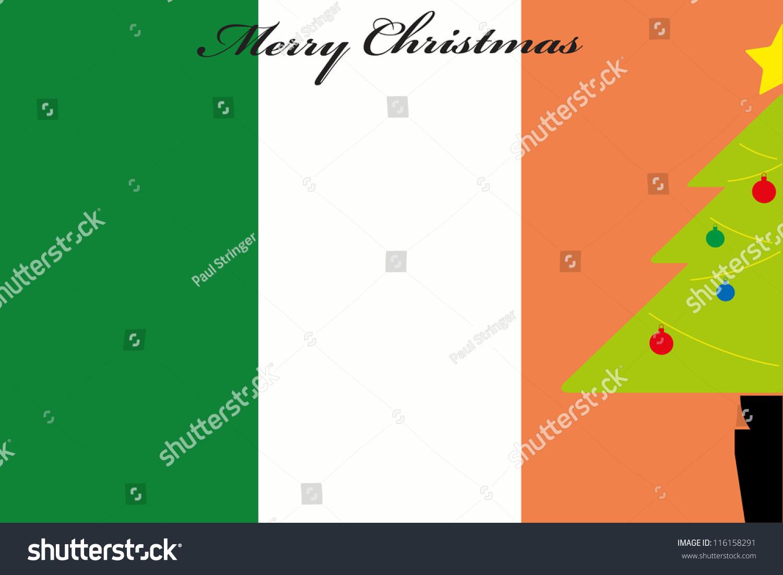 Christmas Tree Over Flag Ireland Stock Vector 116158291 - Shutterstock