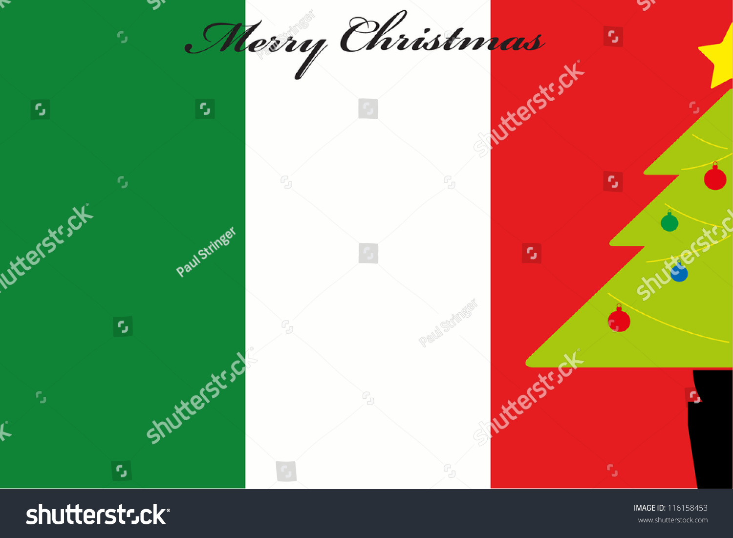Christmas Tree Over Flag Italy Stock Vector (Royalty Free) 116158453 ...