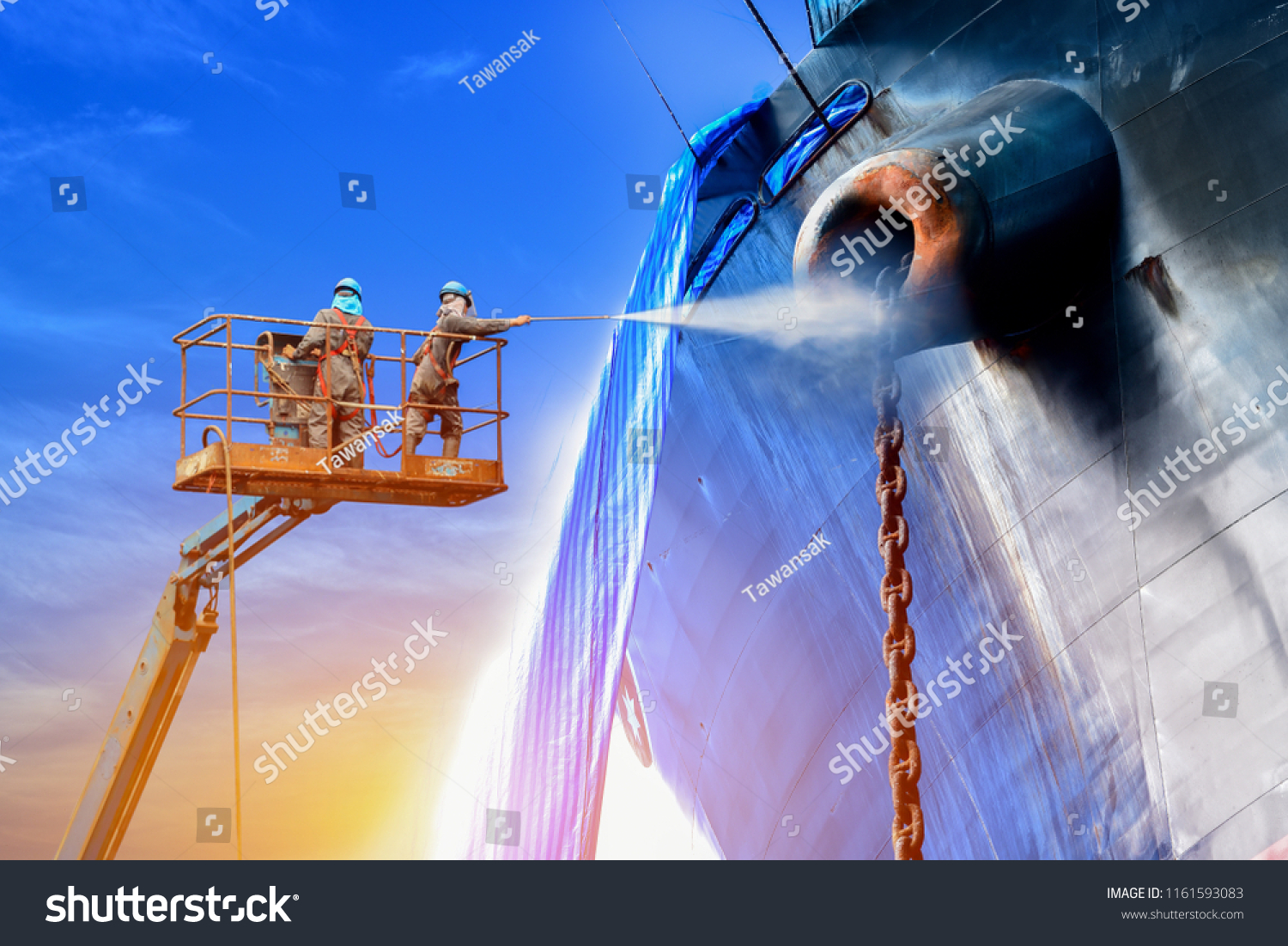 stock photo ship cleaning by worker two man with safety harness used pressure washer cleaning ship on trucks 1161593083 ship cleaning by worker two man stock photo (edit now) 1161593083