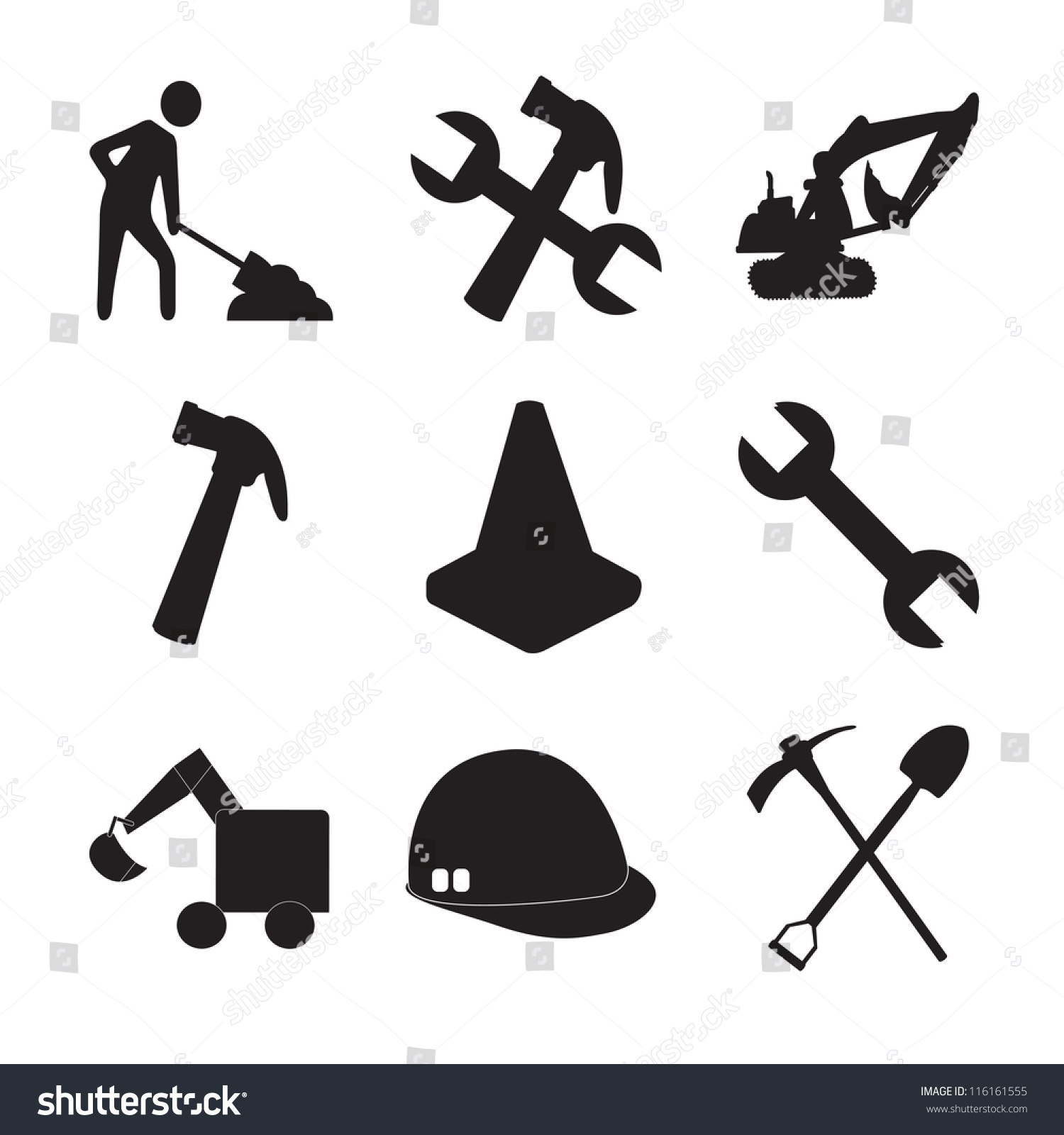 Construction Tools Silhouettes Man Working Stock Vector ...