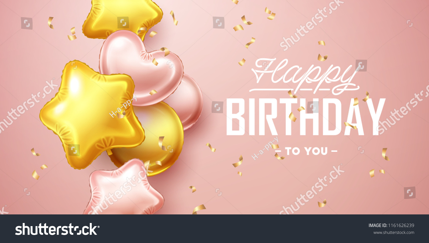 Happy Birthday Background Pink Gold Floating Stock Vector Royalty Free 1161626239