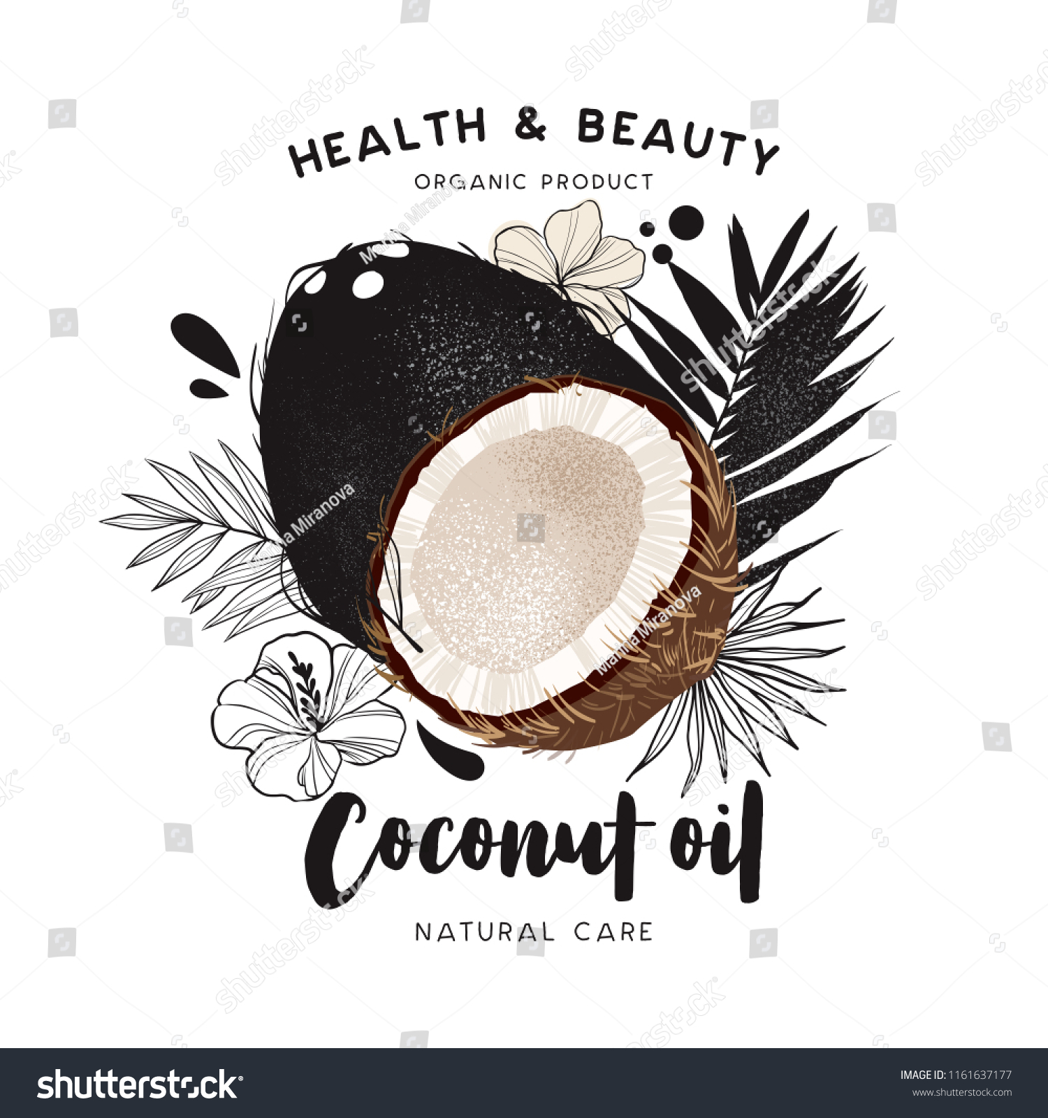 Coconut Oil Template Packaging Cosmetics Labels Stock Vector Royalty Free 1161637177