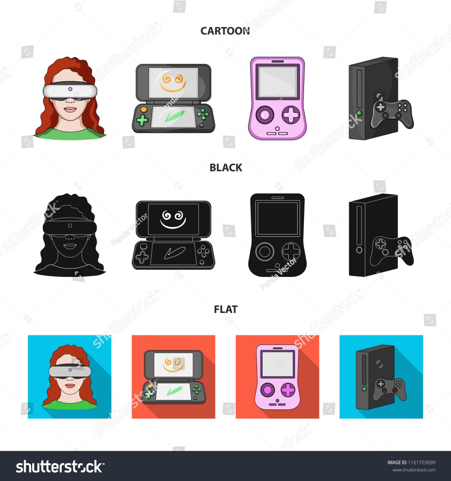 8a578847bdda Game Console Virtual Reality Cartoonblackflat Icons Stock Vector ...