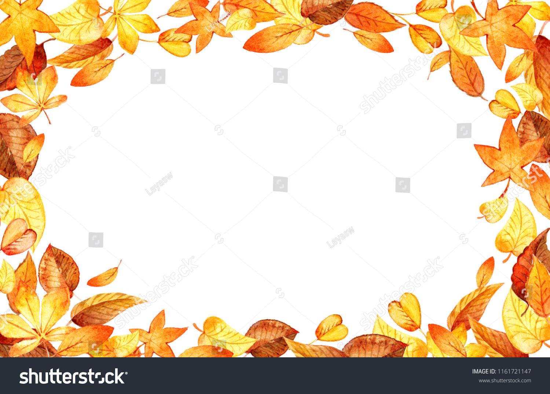 autumn leaves fall horizontal frame watercolor stock illustration