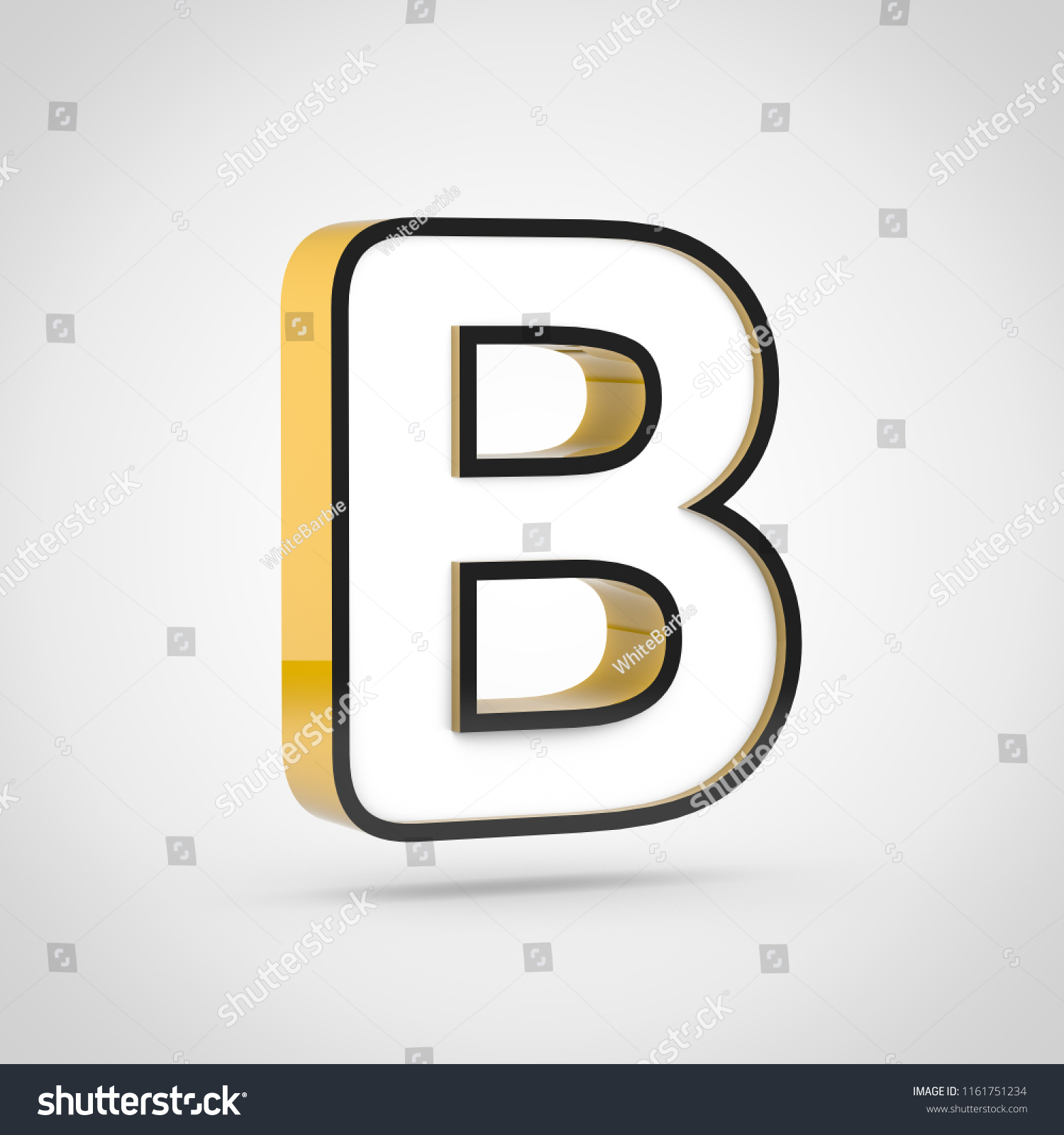 golden letter b uppercase with white face and black outline isolated on white background