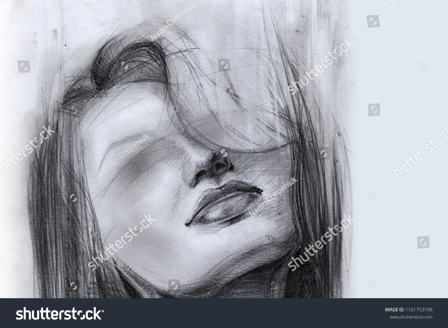 Portrait of a girl face hair blind sketch pencil drawing