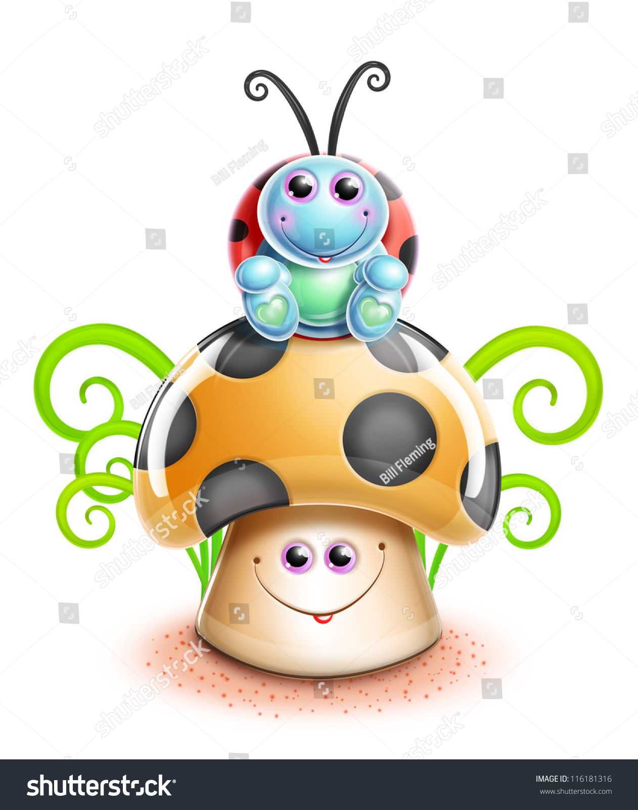 A Cartoon Ladybug kawaii whimsical cute cartoon ladybug on stock illustration