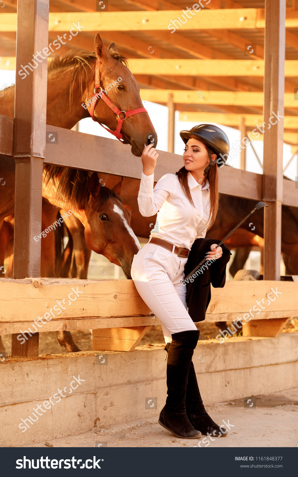 Beautiful Rider Woman Helmet Whip Near Stock Photo Edit Now 1161848377