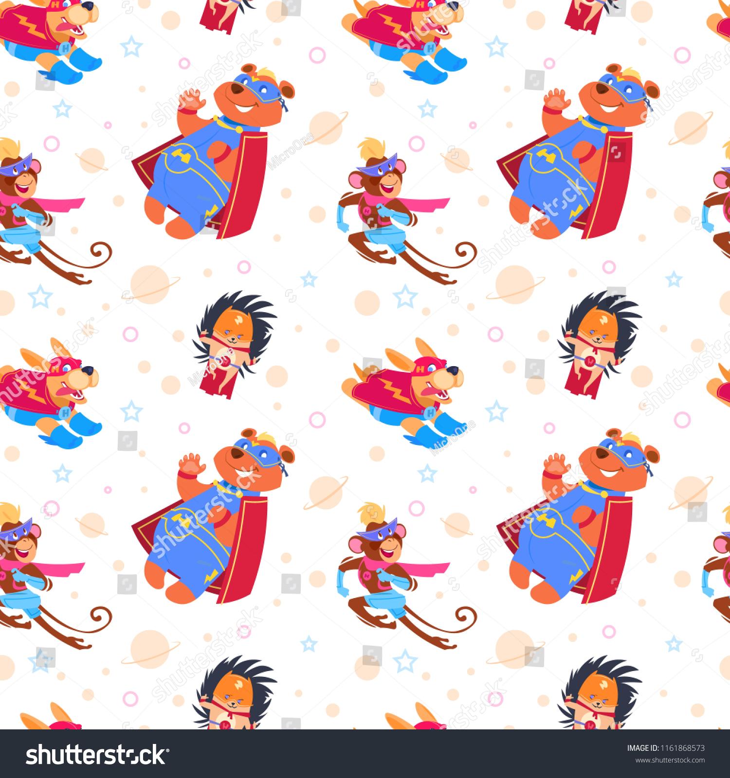Superhero animals seamless pattern cartoon endless vector background savior superhero costume hero brave