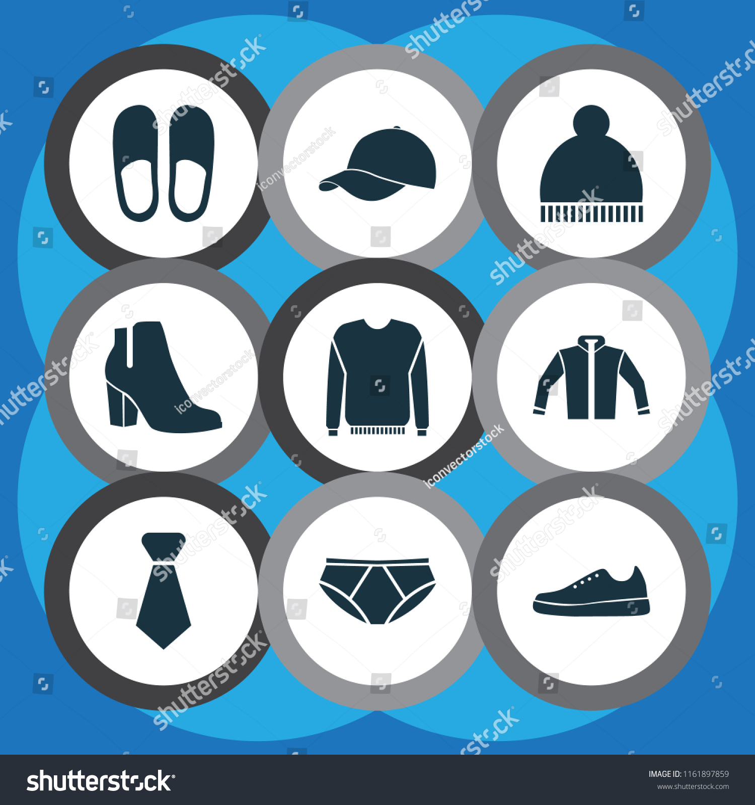 Dress Icons Set Gumshoes Jacket Necktie Stock Vector Royalty Free