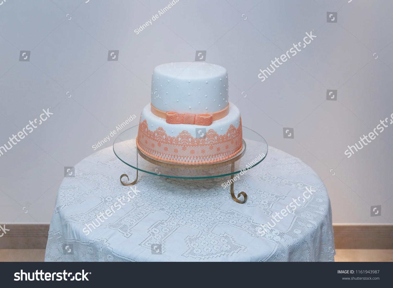 Marvelous Elegant Birthday Cake Lace Orange Color Stock Photo Edit Now Funny Birthday Cards Online Overcheapnameinfo